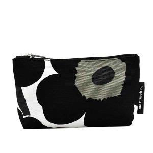 マリメッコ MARIMEKKO ポーチ コスメポーチ 化粧ポーチ 小物入れ ブラック 黒 ホワイト 白 レディース ブランド 47200|fashion-labo