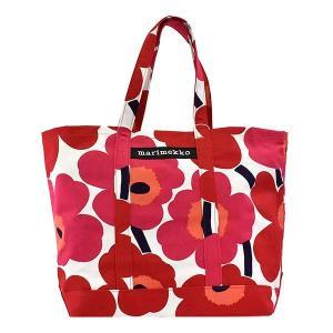 マリメッコ MARIMEKKO バッグ トートバッグ レディース ウニッコ UNIKKO 花柄 フラワー レッド ホワイト 大容量 ブランド 48295|fashion-labo