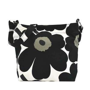 マリメッコ MARIMEKKO バッグ ショルダーバッグ 斜めがけバッグ 斜め掛けバッグ レディース ウニッコ UNIKKO 花柄 フラワー ブラック ホワイト ブランド 48296|fashion-labo