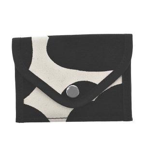マリメッコ MARIMEKKO 財布 小銭入れ コインケース ウニッコ 90119 レディース ブラック ホワイト 白 コットン ブランド|fashion-labo