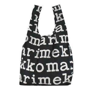マリメッコ MARIMEKKO バッグ トートバッグ エコバッグ レディース 折り畳み ナイロン ブラック ホワイト ロゴ ブランド 48854|fashion-labo