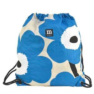 マリメッコ MARIMEKKO バッグ リュックサック リュック ナップサック unikko ウニッコ 49695 レディース ブルー 青 花柄 フラワー ロゴ ブランド|fashion-labo