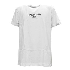 カルバンクラインジーンズ CALVIN KLEIN JEANS Tシャツ トップス クルーネック 半袖 Sサイズ メンズ ホワイト 白 ビッグロゴ 丸首 ブランド J30J315728 fashion-labo