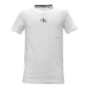 カルバンクラインジーンズ CALVIN KLEIN JEANS Tシャツ トップス クルーネック 半袖 Mサイズ メンズ ホワイト 白 CKロゴ 丸首 ブランド J30J315878 fashion-labo