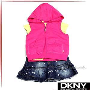 DKNY ダナキャラン ガールズ ベスト Tシャツ デニムスカート 3ピースセット ベビー服 01400 fashion-labo