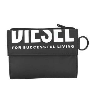 即日発送 ディーゼル DIESEL 財布 三つ折り財布 折り財布 メンズ ブラック 黒 ホワイト ロゴ ブランド X07317 fashion-labo