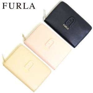 フルラ FURLA 財布 二つ折り財布 折りたたみ財布 ラウンドファスナー リタ pds7fri-e3 レディース ベージュ ピンク ブラック レザー 本革 ロゴ ブランド fashion-labo