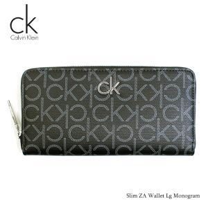 カルバンクライン Calvin Klein 財布 長財布 メンズ ラウンド 札入れ ブラック 黒 モノグラム Slim ZA Wallet Lg Monogram ブランド fashion-labo