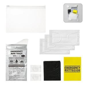 防災衛生 6点セット ポーチタイプ クリア   携帯トイレ 個包装圧縮タオル 個包装マスク ごみ袋 防災ガイド ts-1680-004 マークレス MARKLESS STYLE|fashion-labo
