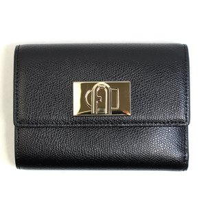 フルラ FURLA 財布 三つ折り財布 折りたたみ財布 1927 M pcw4aco-ar-o6 レディース ブラック 黒色 ゴールド カーフレザー 本革 ミニ財布 ブランド fashion-labo