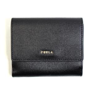 フルラ FURLA 財布 二つ折り財布 折りたたみ財布 バビロン S pcy8uno-b3-o6 レディース ブラック ゴールド サフィアーノレザー ロゴ ブランド fashion-labo