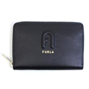フルラ FURLA 財布 二つ折り財布 折りたたみ財布 ラウンドファスナー リタ M pds7fri-e3-o6 レディース ブラック レザー ロゴ ミニ財布 ブランド fashion-labo