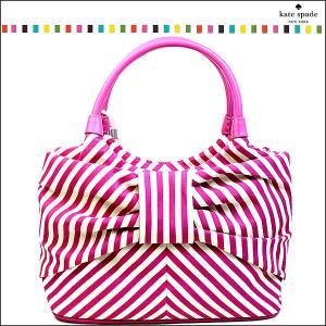 ケイトスペード バッグ トートバッグ レディース ピンク キャンバス ブランド リボン ストライプ ブランド kate spade fashion-labo