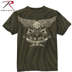 Tシャツ メンズ 半そで 半袖 ビンテージ グリーン スカル Death Before Dishonor ロック ミリタリー 丸首 80385 ロスコ Rothco カーキ fashion-labo