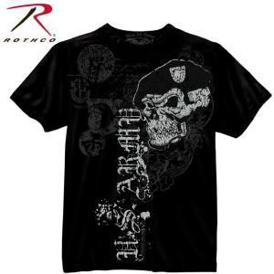 Tシャツ メンズ 半袖 半そで ブラック スカル ミリタリー アーミー Black Ink U.S. Army Skull w Beret T-Shirt 80415 丸首 ロスコ Rothco fashion-labo
