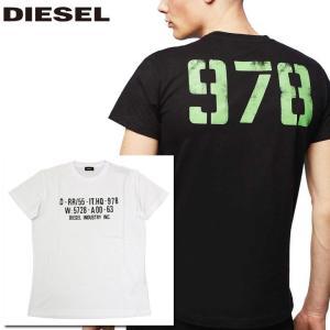 ディーゼル DIESEL Tシャツ シャツ メンズ 半そで 半袖 ロゴ  ホワイト 白 ブラック 黒 トップス 人気 ブランド 00SEG9 0091A 100 T-DIEGO-S2 fashion-labo