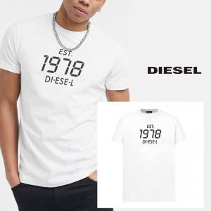 ディーゼル DIESEL Tシャツ シャツ メンズ 半そで 半袖 ロゴ  ホワイト 白 トップス 人気 ブランド A00297 0HAYU 100A T-DIEGOS-X42 fashion-labo