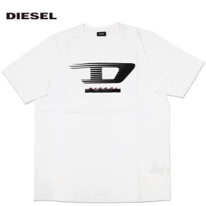 ディーゼル DIESEL Tシャツ シャツ メンズ 半そで 半袖 ロゴ  ホワイト 白 クルーネック トップス 人気 ブランド 00SPQ 0091A 100 T-JUST-Y4 fashion-labo