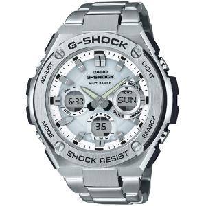 カシオ CASIO 正規品 時計 腕時計 G-SHOCK Gショック Gスチール タフソーラー ソーラー充電 電波時計 メンズ シルバー ブランド GST-W110D-7AJF G-STEEL|fashion-labo