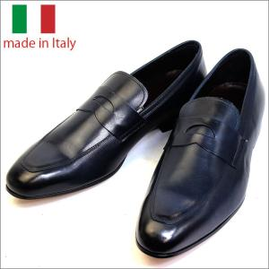 イタリア製 メンズ シューズ コイン ローファー ビジネスシューズ BLU ブルー 子牛 紳士靴 革靴 スリップオン スリッポン vavi|fashion-labo