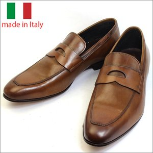 イタリア製 メンズ シューズ コイン ローファー レザー ビジネスシューズ ブラウン 子牛 紳士靴 革靴 スリッポン vavi|fashion-labo