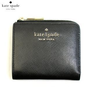 ケイトスペード KATE SPADE 財布 二つ折り財布 折り財布 L字ファスナー ステイシー wlr00143-001 レディース レザー 本革 ブラック 黒 ゴールド ブランド fashion-labo