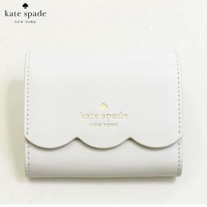 ケイトスペード KATE SPADE 財布 二つ折り財布 プラップ財布 ミニ財布 ジェマ wlr00553-157 レディース スムースレザー 本革 ホワイトダヴ 白 ゴールド ブランド fashion-labo