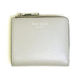 ケイトスペード kate spade 財布 二つ折り財布 レディース レザー 本革 ミニ財布 グレー アウトレット コンパクト ロゴ ブランド wlru6253 fashion-labo