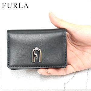 フルラ FURLA 名刺入れ カードケース MOON BUSINESS CARD CASE SLIM レディース メンズ ブラック レザー ロゴ ブランド fashion-labo