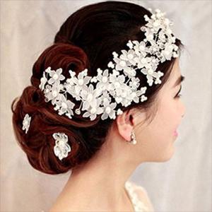 ヘッドドレス 髪飾り ヘアアクセサリー パール 花 髪留め 振袖 結婚式 ウェディング 和装 着物 ...