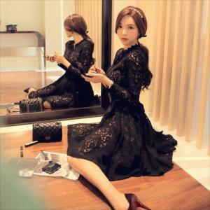 パーティードレス 10代 20代 30代 ワンピース おしゃれ フォーマル お呼ばれ 花柄 ラグジュアリー レース ブラック ワンピ ミニドレス 長袖 カラードレス ドレス|fashion-shop-seleb