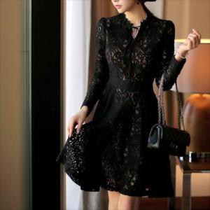 パーティードレス 10代 20代 30代 ワンピース おしゃれ フォーマル お呼ばれ 花柄 ラグジュアリー レース ブラック ワンピ ミニドレス 長袖 カラードレス ドレス|fashion-shop-seleb|06