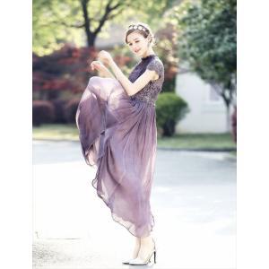 パーティードレス 10代 20代 30代 ワンピース おしゃれ フォーマル お呼ばれ シフォン レース フレア ロング パープル ワンピ カラードレス セレモニー セクシー|fashion-shop-seleb|11