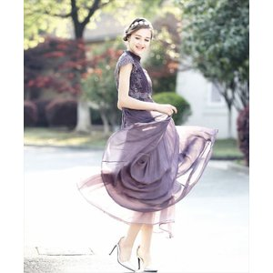 パーティードレス 10代 20代 30代 ワンピース おしゃれ フォーマル お呼ばれ シフォン レース フレア ロング パープル ワンピ カラードレス セレモニー セクシー|fashion-shop-seleb|05