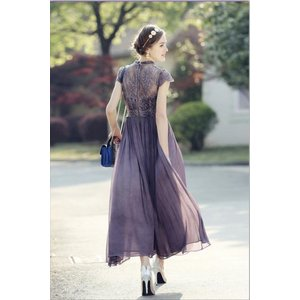 パーティードレス 10代 20代 30代 ワンピース おしゃれ フォーマル お呼ばれ シフォン レース フレア ロング パープル ワンピ カラードレス セレモニー セクシー|fashion-shop-seleb|10