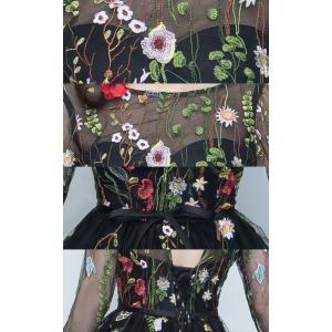パーティードレス 10代 20代 30代 ワンピース おしゃれ フォーマル お呼ばれ シースルー 花柄 刺繍 オーガンジー ブラック ホワイト 長袖 ミニドレス セレモニー|fashion-shop-seleb|18