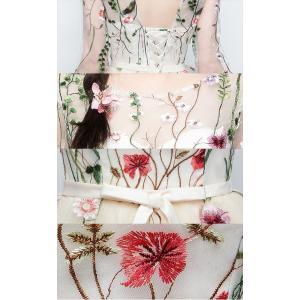 パーティードレス 10代 20代 30代 ワンピース おしゃれ フォーマル お呼ばれ シースルー 花柄 刺繍 オーガンジー ブラック ホワイト 長袖 ミニドレス セレモニー|fashion-shop-seleb|19