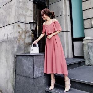 パーティードレス 10代 20代 30代 ワンピース おしゃれ フォーマル お呼ばれ オフショルダー ピンク シフォン ミモレ丈 ロング ドレス ワンピ カラードレス|fashion-shop-seleb|04