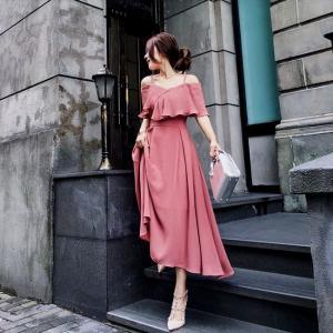 パーティードレス 10代 20代 30代 ワンピース おしゃれ フォーマル お呼ばれ オフショルダー ピンク シフォン ミモレ丈 ロング ドレス ワンピ カラードレス|fashion-shop-seleb|05