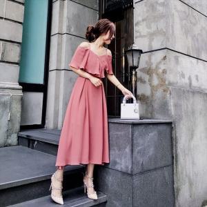 パーティードレス 10代 20代 30代 ワンピース おしゃれ フォーマル お呼ばれ オフショルダー ピンク シフォン ミモレ丈 ロング ドレス ワンピ カラードレス|fashion-shop-seleb|06