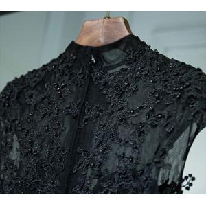 パーティードレス 10代 20代 30代 ワンピース おしゃれ フォーマル お呼ばれ 刺繍 花柄 ハイネック ブラック ロング ノースリーブ ワンピ セクシー カラードレス|fashion-shop-seleb|14