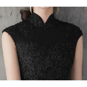 パーティードレス 10代 20代 30代 ワンピース おしゃれ フォーマル お呼ばれ 刺繍 花柄 ハイネック ブラック ロング ノースリーブ ワンピ セクシー カラードレス|fashion-shop-seleb|15
