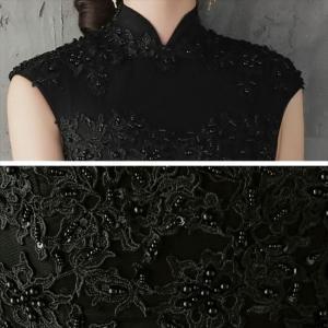 パーティードレス 10代 20代 30代 ワンピース おしゃれ フォーマル お呼ばれ 刺繍 花柄 ハイネック ブラック ロング ノースリーブ ワンピ セクシー カラードレス|fashion-shop-seleb|16