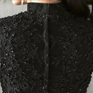 パーティードレス 10代 20代 30代 ワンピース おしゃれ フォーマル お呼ばれ 刺繍 花柄 ハイネック ブラック ロング ノースリーブ ワンピ セクシー カラードレス|fashion-shop-seleb|18