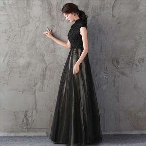 パーティードレス 10代 20代 30代 ワンピース おしゃれ フォーマル お呼ばれ 刺繍 花柄 ハイネック ブラック ロング ノースリーブ ワンピ セクシー カラードレス|fashion-shop-seleb|04