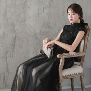 パーティードレス 10代 20代 30代 ワンピース おしゃれ フォーマル お呼ばれ 刺繍 花柄 ハイネック ブラック ロング ノースリーブ ワンピ セクシー カラードレス|fashion-shop-seleb|06