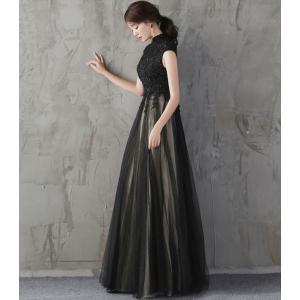 パーティードレス 10代 20代 30代 ワンピース おしゃれ フォーマル お呼ばれ 刺繍 花柄 ハイネック ブラック ロング ノースリーブ ワンピ セクシー カラードレス|fashion-shop-seleb|09