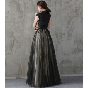パーティードレス 10代 20代 30代 ワンピース おしゃれ フォーマル お呼ばれ 刺繍 花柄 ハイネック ブラック ロング ノースリーブ ワンピ セクシー カラードレス|fashion-shop-seleb|10