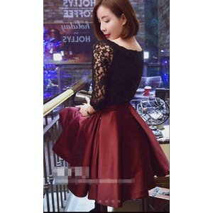 パーティードレス 10代 20代 30代 ワンピース おしゃれ フォーマル お呼ばれ 花柄 レース リボン フレア  ブラック レッド 黒 赤 ドレス ワンピ ミニドレス ミニ|fashion-shop-seleb|05