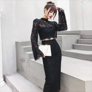 パーティードレス 10代 20代 30代40代 ワンピース おしゃれ フォーマル ブラック 上下セット カラードレス 結婚式 成人式 セクシー レディース キャバ 春夏 fashion-shop-seleb